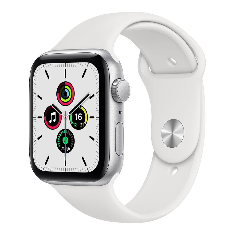 Apple Watch SE, 44 мм, корпус серебристого цвета, ремешок белого цвета